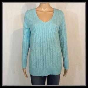 Lane Bryant Teal V-Neck Sweater